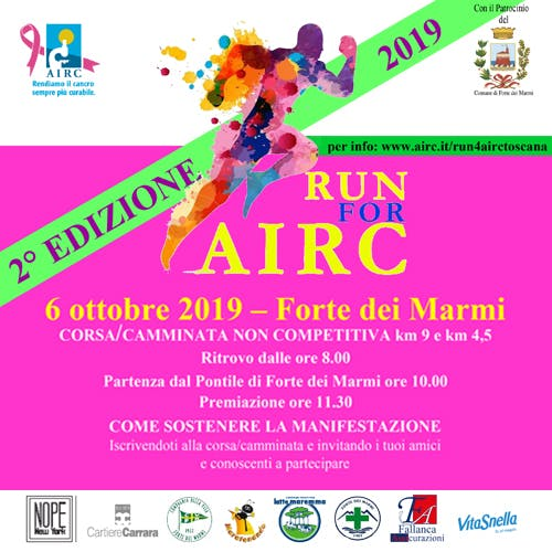 """""""Run for AIRC"""" colora di rosa Forte dei Marmi"""