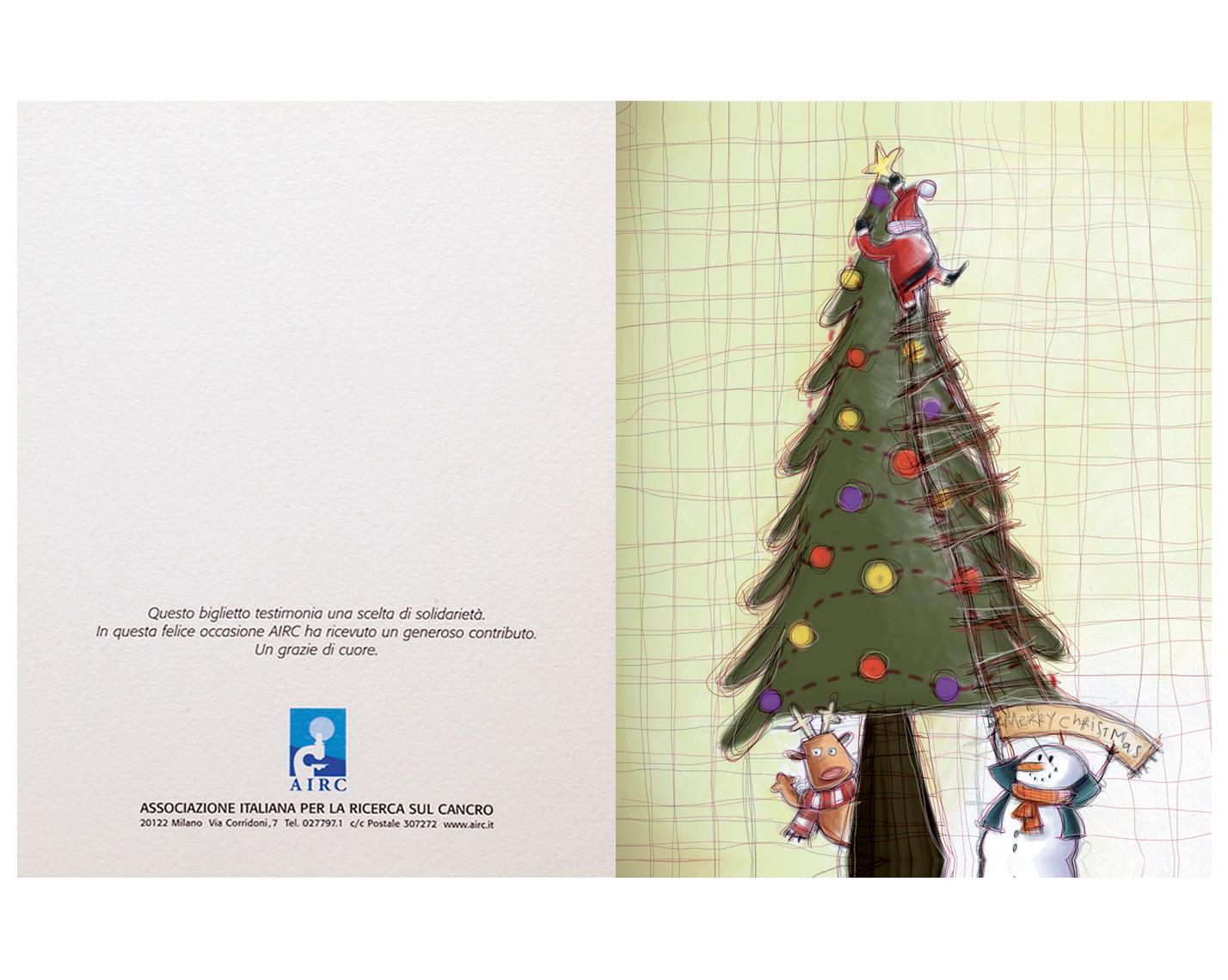 Biglietti Di Natale Airc.Biglietto Albero E Babbo Natale