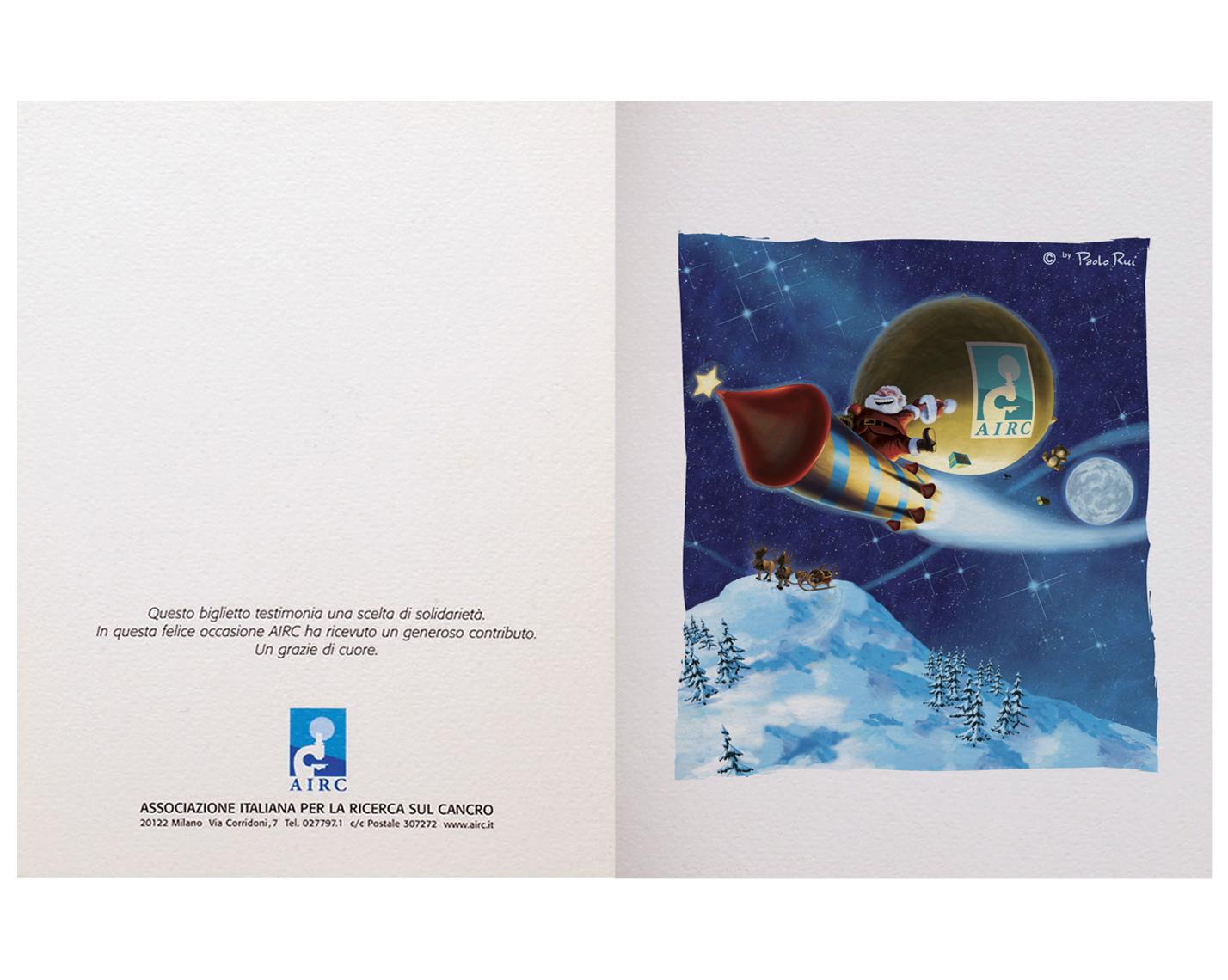 Biglietti Di Natale Airc.Biglietto Auguri Di Natale Airc Slitta Di Notte