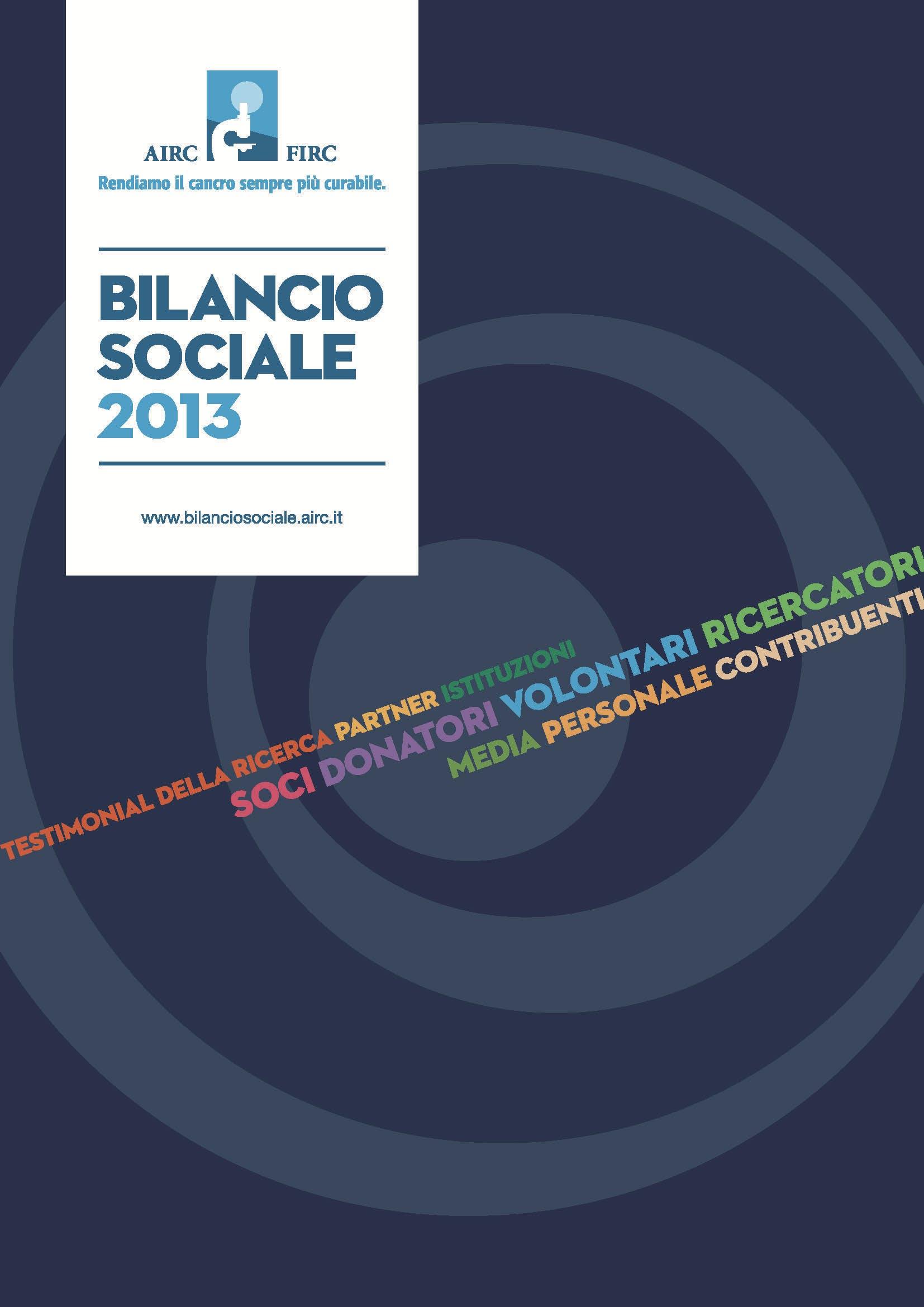 bilancio sociale AIRC 2013