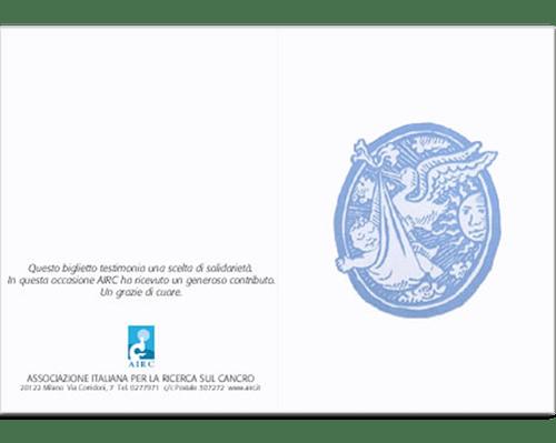 Biglietto augurale Nascita e Battesimo - Cicogna azzurro