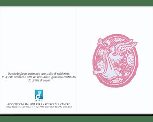 Biglietto augurale Nascita e Battesimo - Cicogna rosa