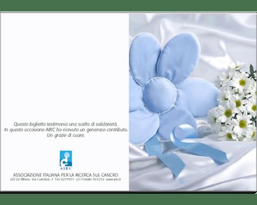 Biglietto augurale Nascita e Battesimo - Fiori Azzurri