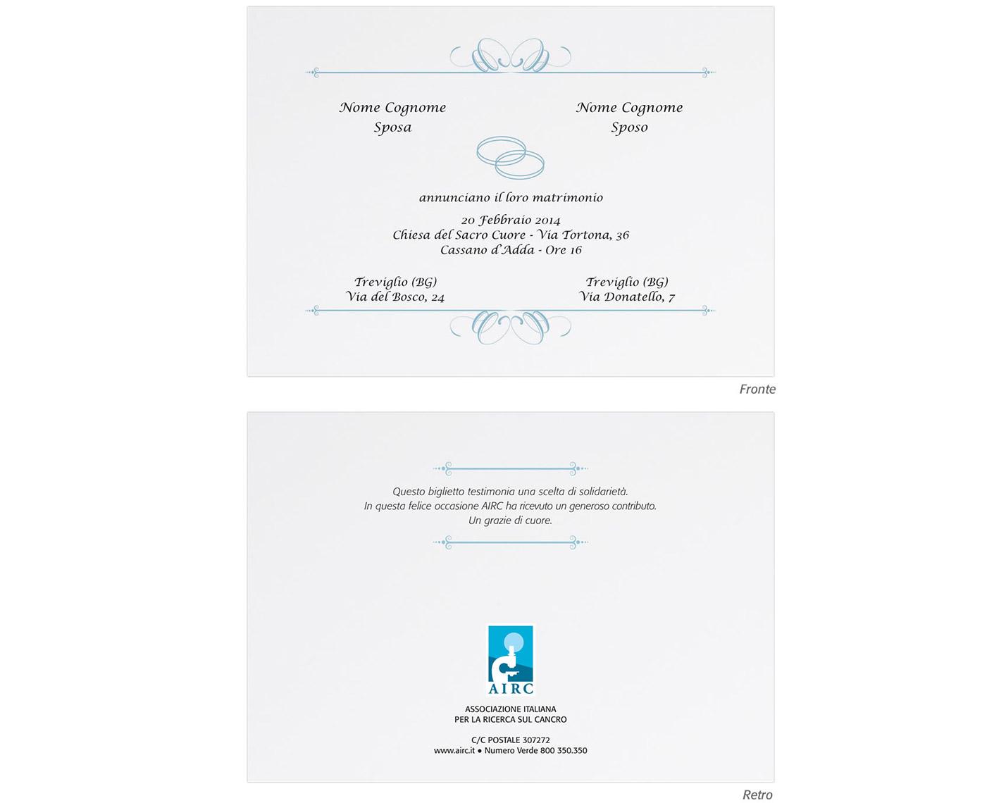 Bomboniere Airc Matrimonio.Partecipazione Matrimonio Solidale Personalizzabile
