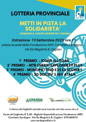 """""""Metti in pista la solidarietà"""" - Lotteria provinciale di beneficenza"""
