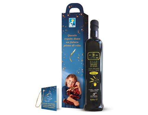 Messaggio di auguri con bottiglia di olio Evo - 4 pezzi